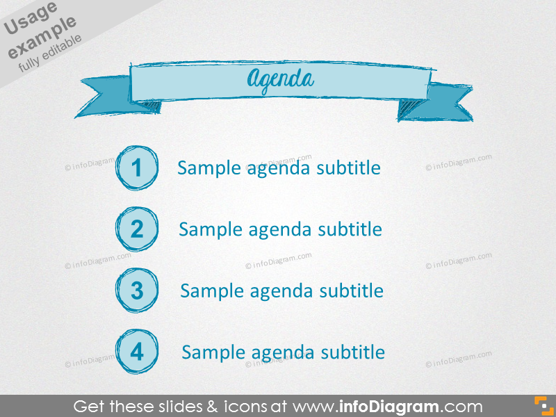 pencil agenda banner drawn retro ppt icons 186