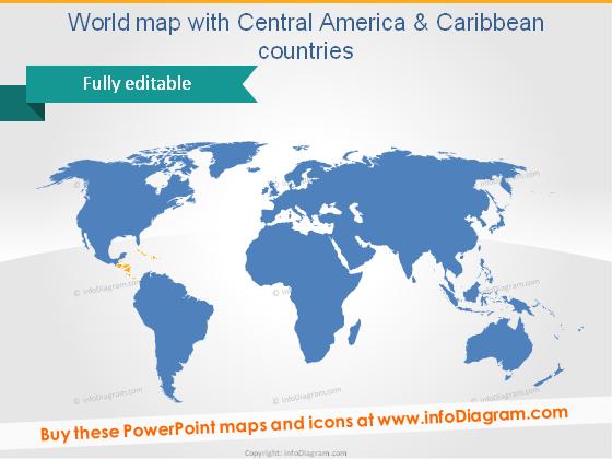 World Map Vector Powerpoint shape clip art blue