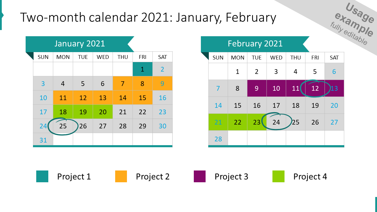 Two-month calendar 2021: January, February