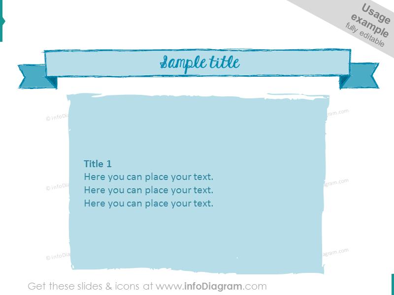pencil doodle retro slide template powerpoint blue sketch