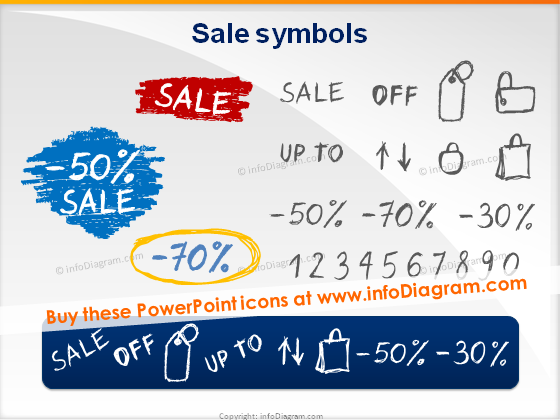 sale discount off sketches pencil doodle numbers vector ppt icons