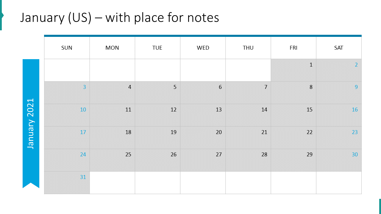 January (US) – with place for notes