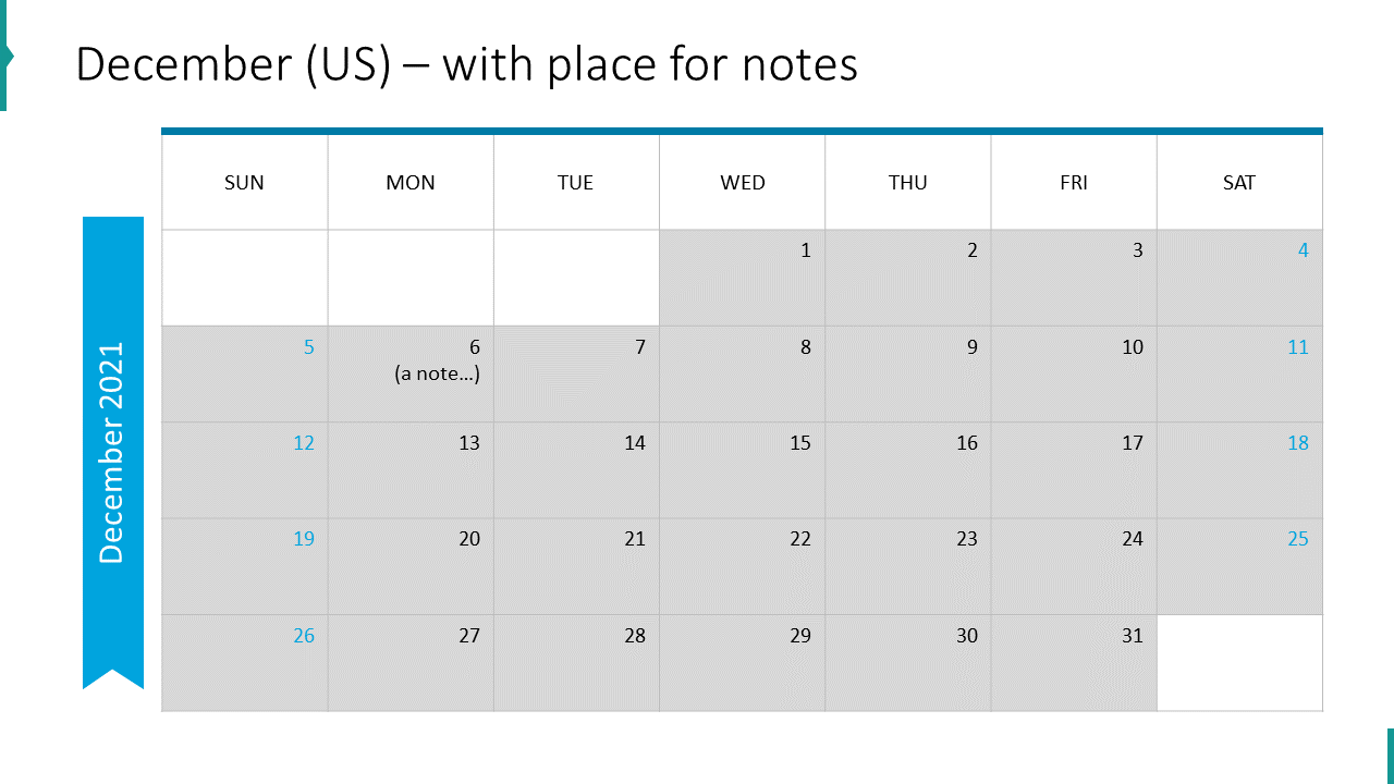December (US) – with place for notes
