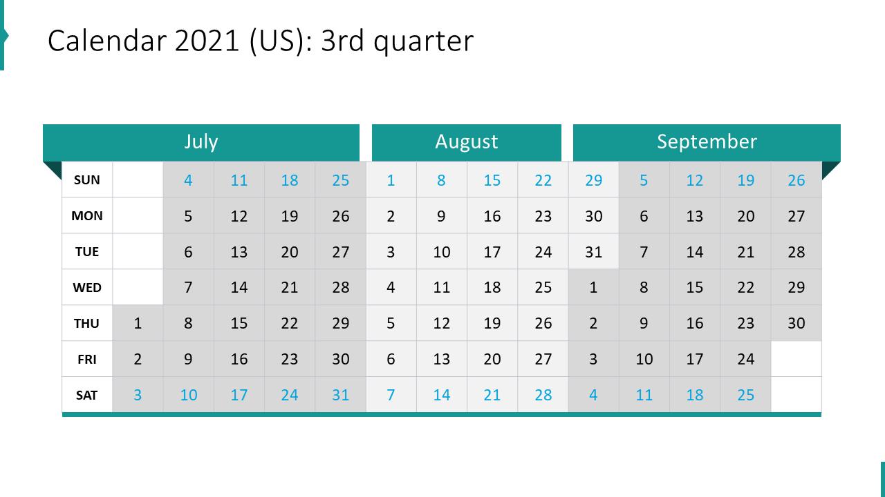 Calendar 2021 (US): 3rd quarter