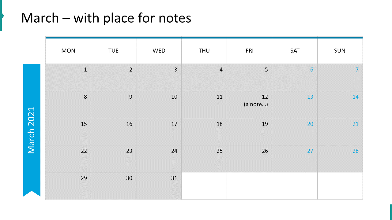March – with place for notes