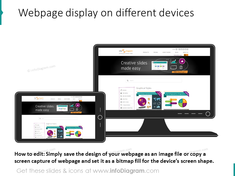 webpage display mobile tablet devices powerpoint clipart icons
