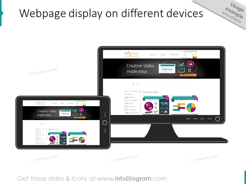 responsive webpage design display mobile tablet ppt clipart icon