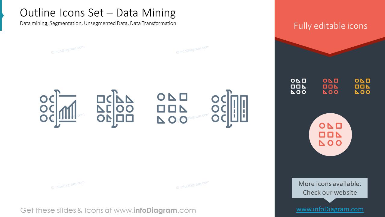 Outline Icons Set – Data MiningData mining, Segmentation, Unsegmented Dat…