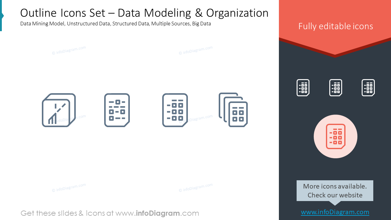 Outline Icons Set – Data Modeling & OrganizationData Mining Model, Unstru…