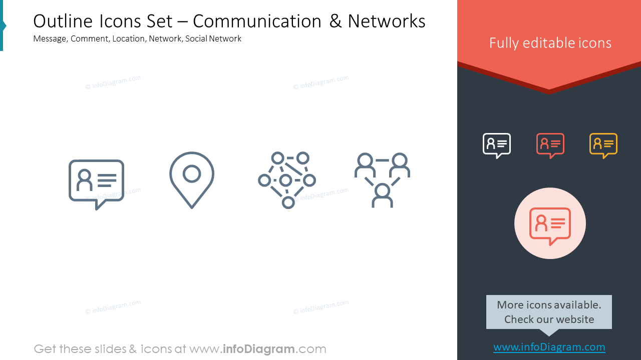 Outline Icons Set – Communication & NetworksMessage, Comment, Location, N…