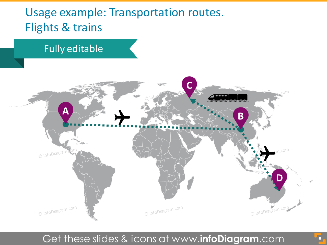 world map transport route flight train powerpoint