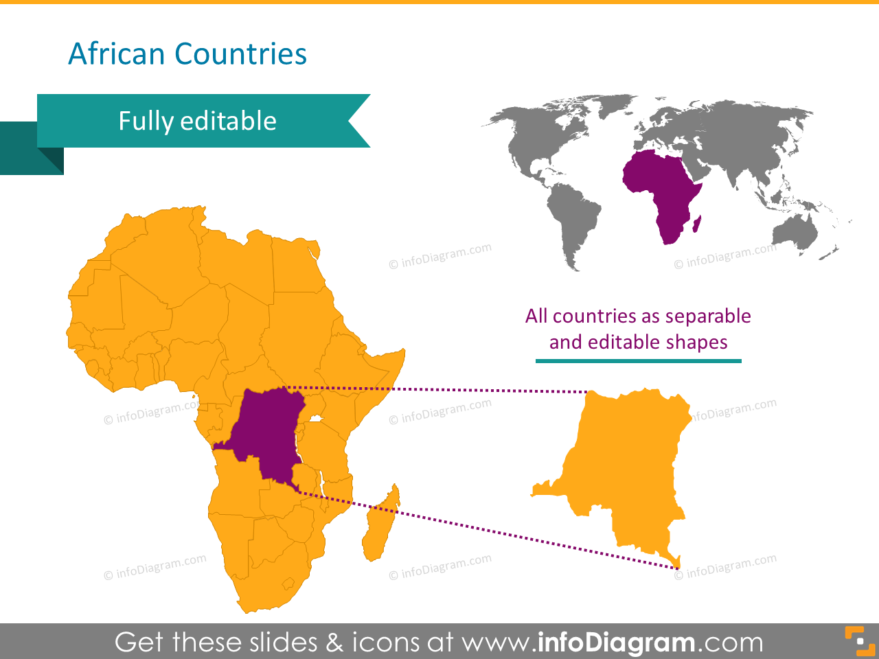 Africa countries map SAR egypt congo ppt clipart
