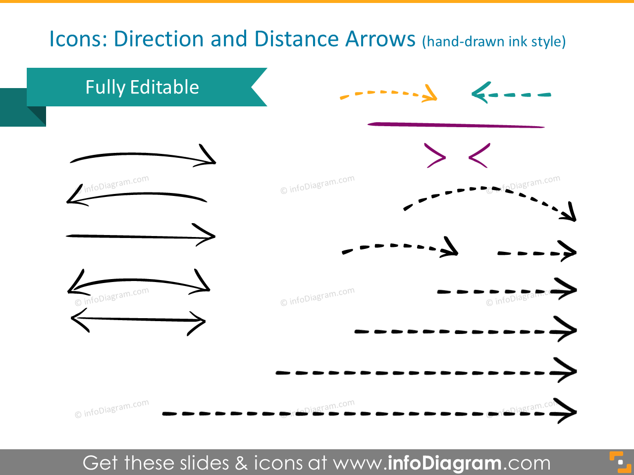 map routes icons path hand drawn arrow skecth pptx