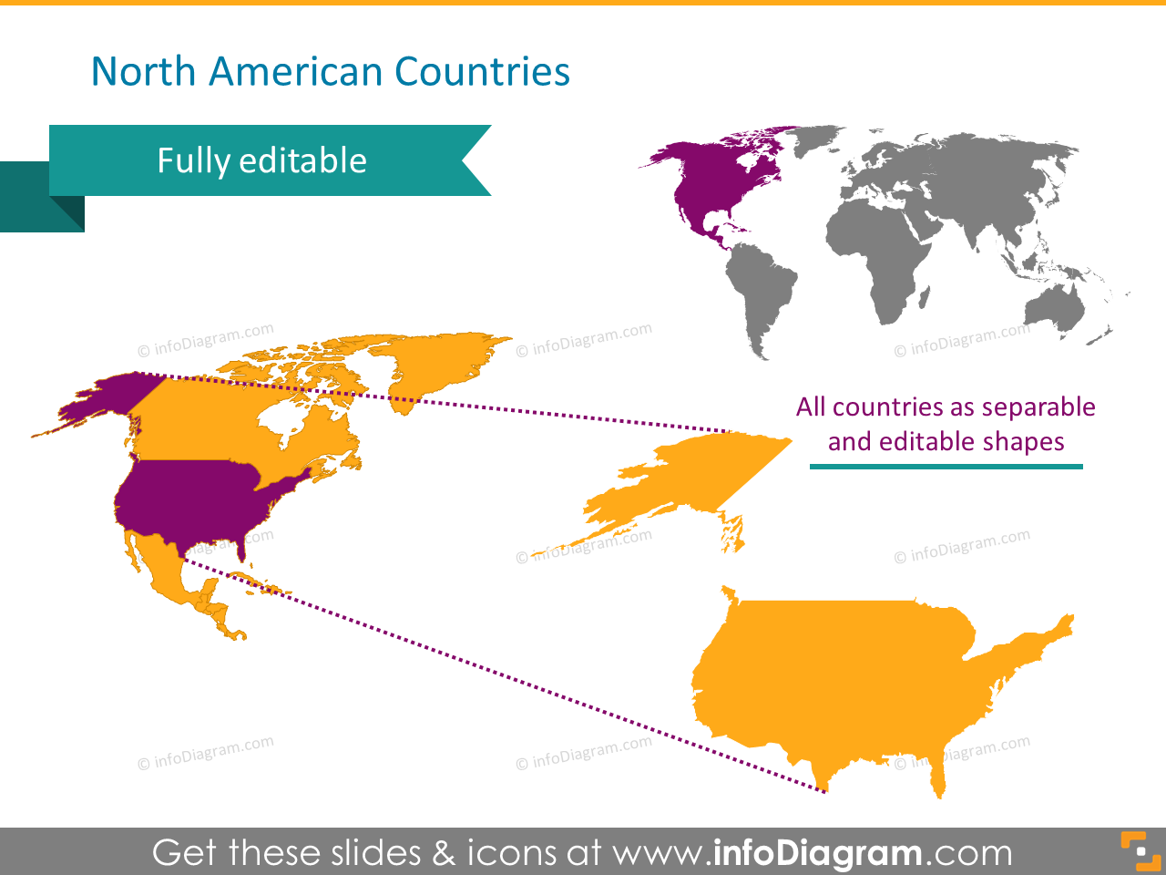 north america countries map US pptx slide