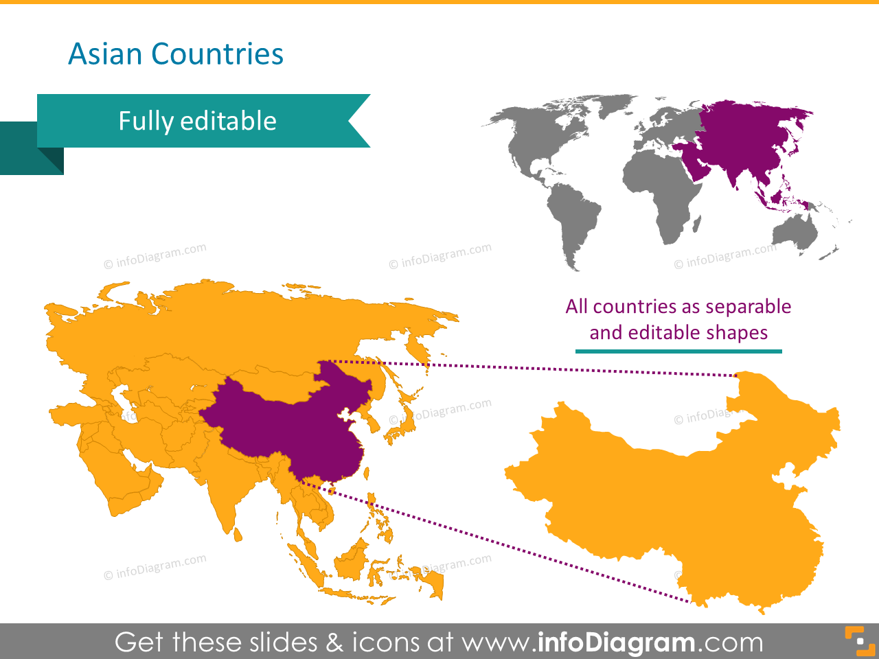 Asia countries map china india ppt clipart