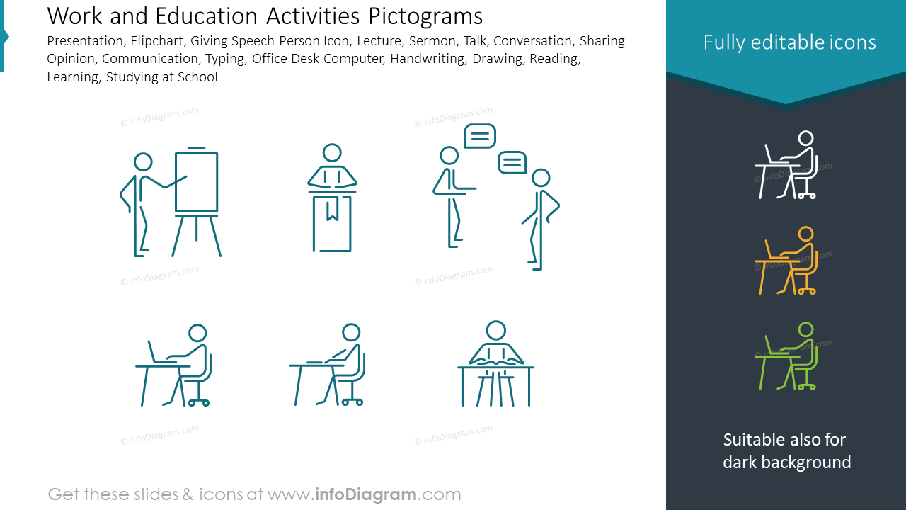Work and Education Activities Pictograms