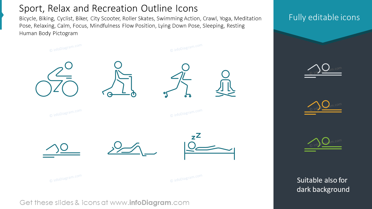 Sport, Relax and Recreation Outline Icons