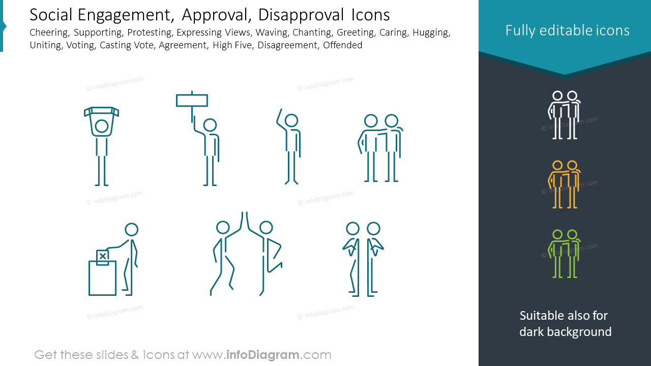 Social Engagement, Approval, Disapproval Icons