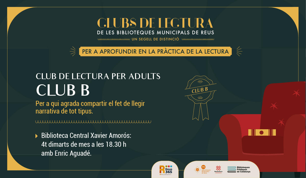 CLUB DE LECTURA PER ADULTS                                                                                (CLUB B amb Enric Aiguadé)