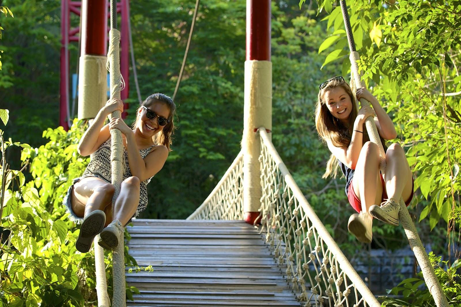 2 girls hanging out at Safari World Bangkok
