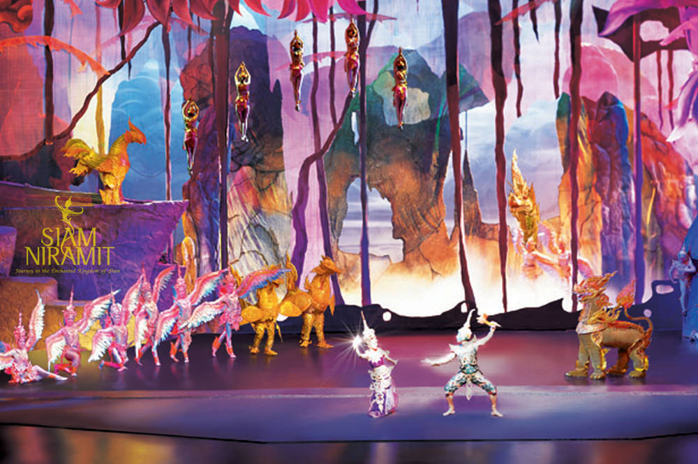 Colorful and vibrant stage setting design in Siam Niramit Bangkok Show
