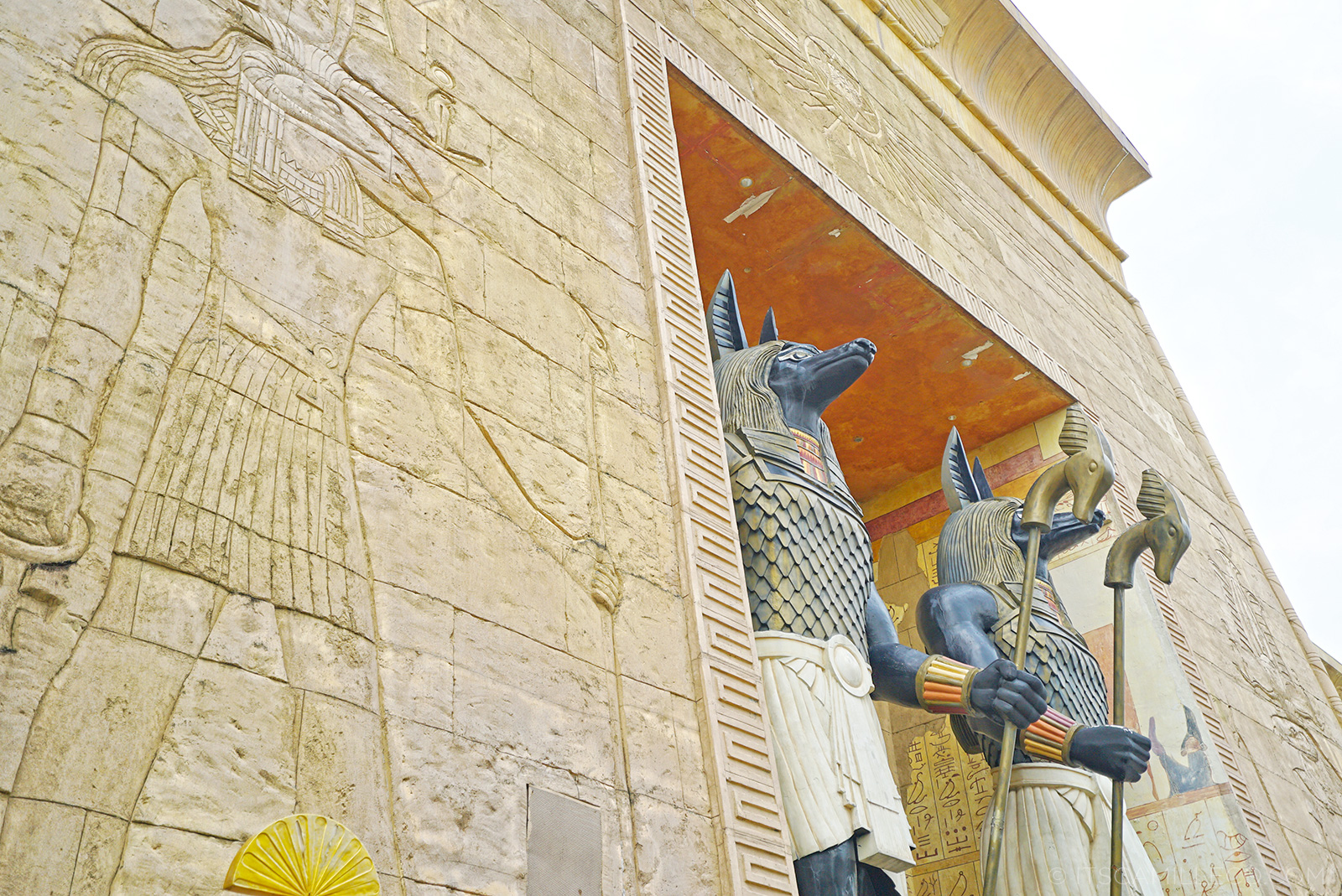 The photo shows the Ancient Egypt area at the Universal Studios Singapore