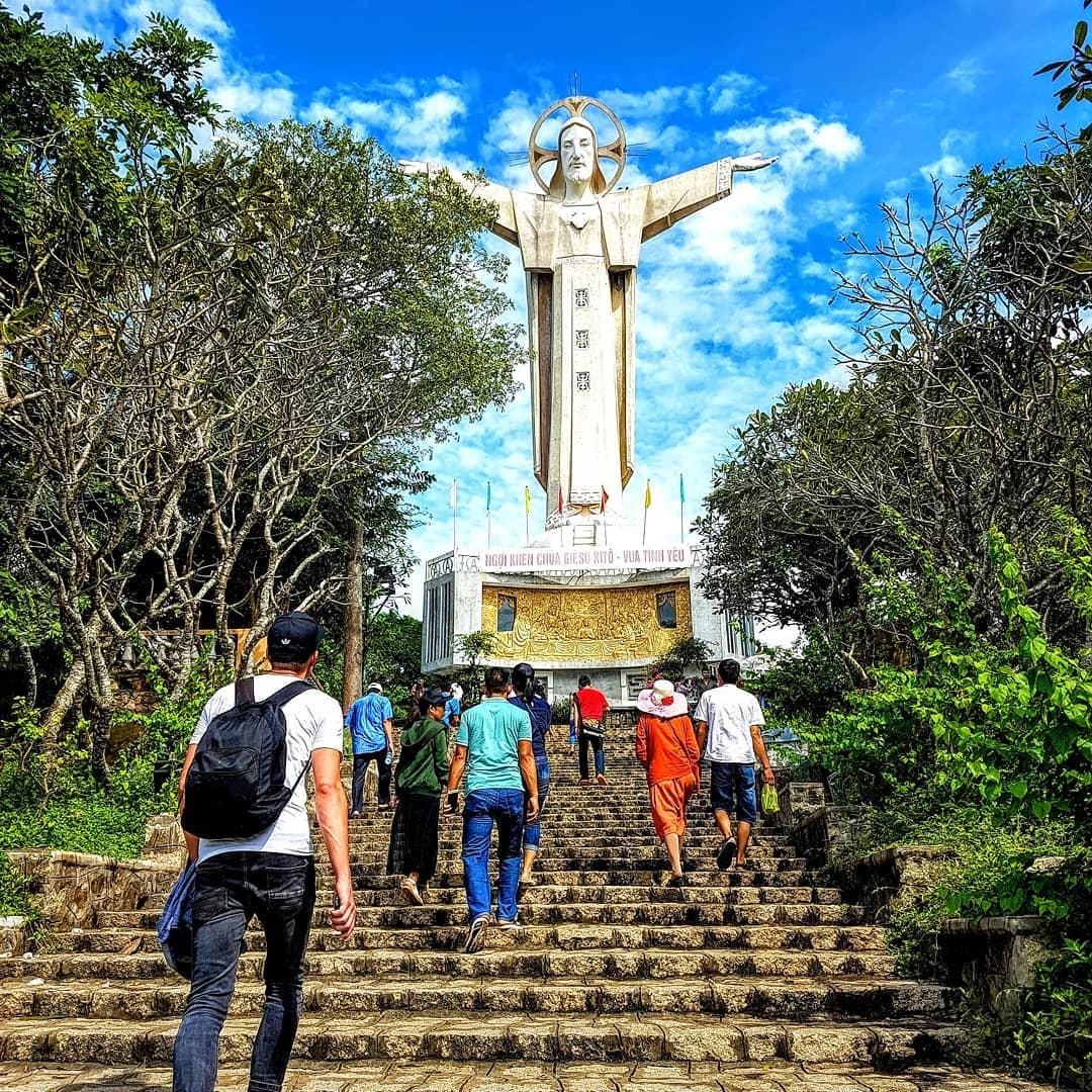 Tourist visiting the Christ of Vung Tau
