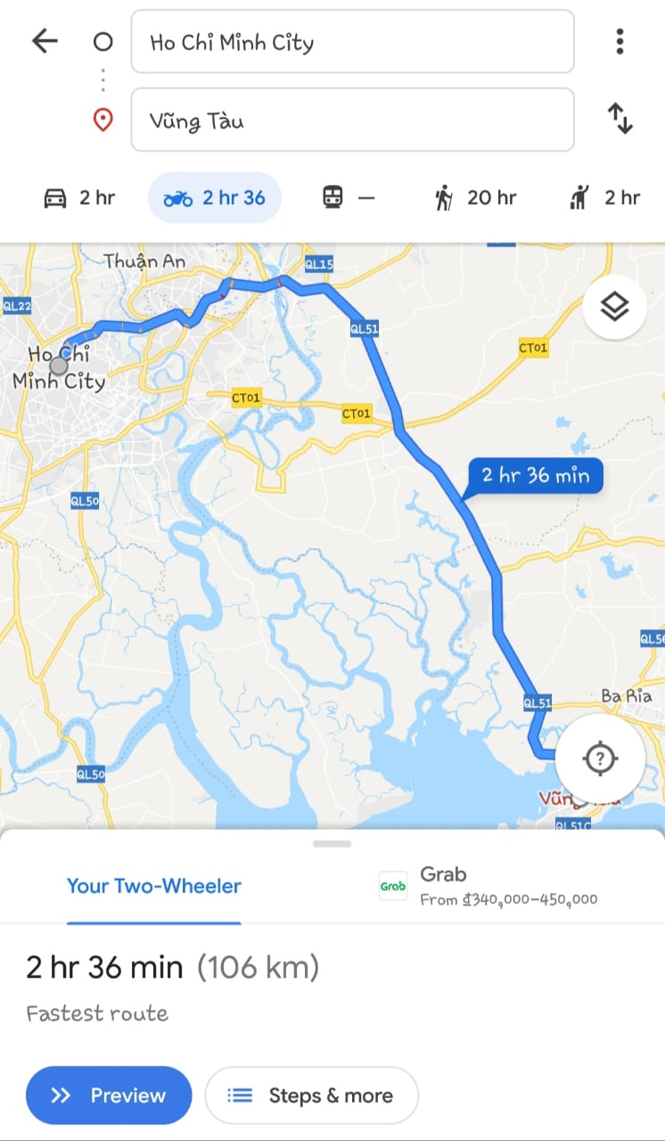 Motorbike route from Ho Chi Minh City to Vung Tau