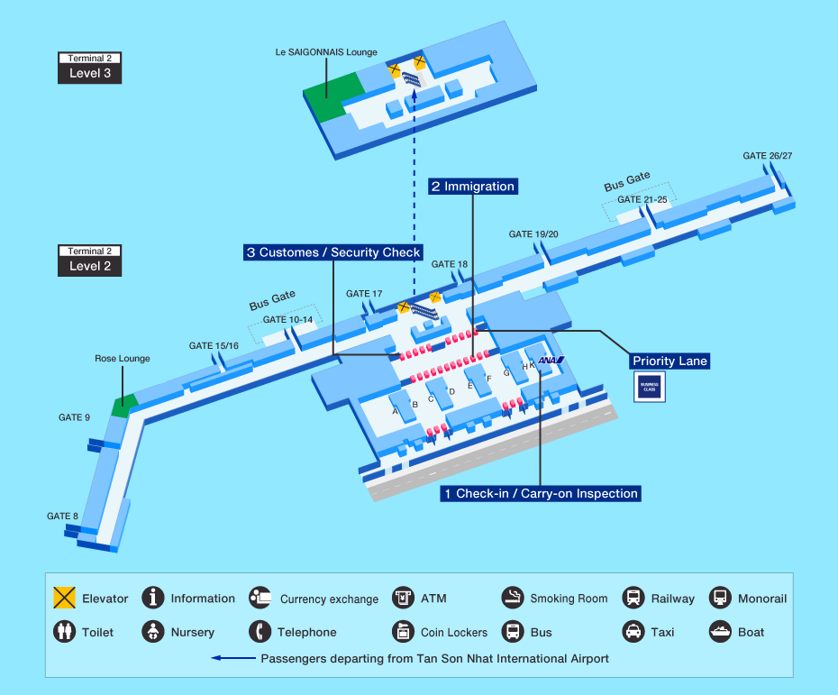 Ho Chi Minh CIty Airport map - Departure