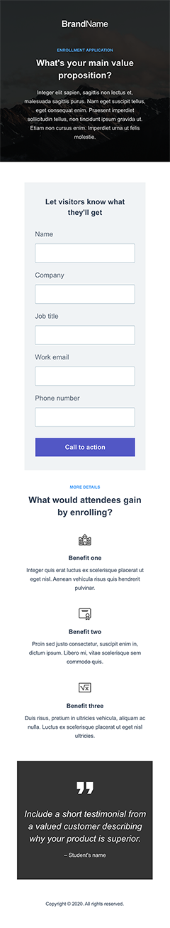 Enrollment application 1