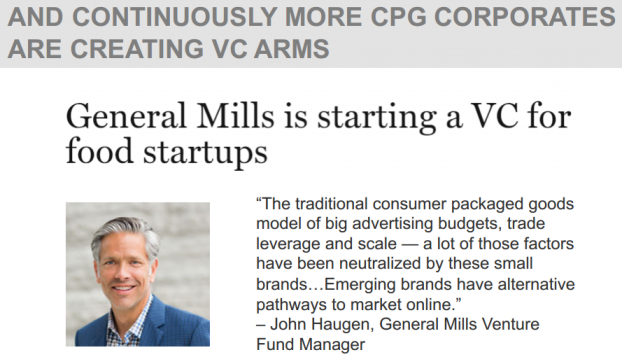 AND CONTINUOUSLY MORE CPG CORPORATES ARE CREATING VC ARMS