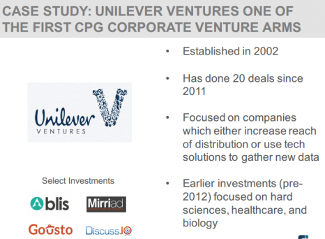 CASE STUDY: UNILEVER VENTURES ONE OF THE FIRST CPG CORPORATE VENTURE ARMS