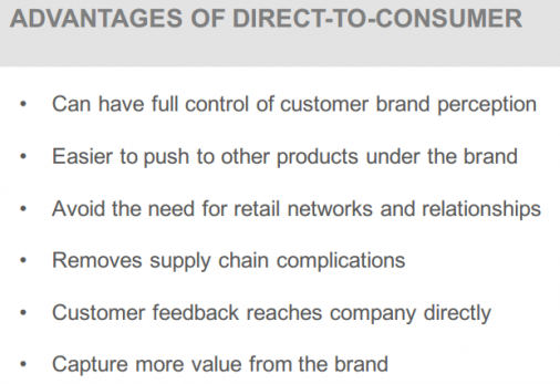 ADVANTAGES OF DIRECT-TO-CONSUMER