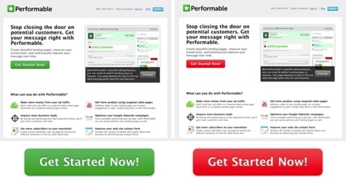 this image shows the A/B test of CTA button colors, where the red button wins against the green one
