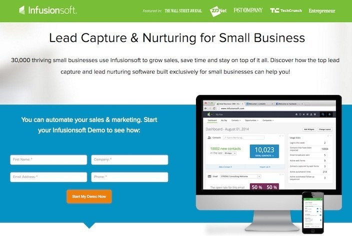 This picture shows marketers why Infusionsoft has one of the best landing pages you'll find online.