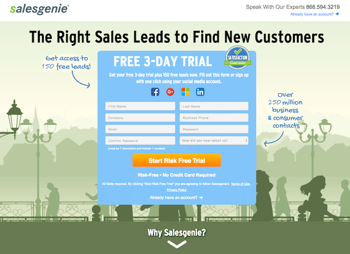 This picture shows marketers why Salesgenie has one of the best landing pages you'll find online.