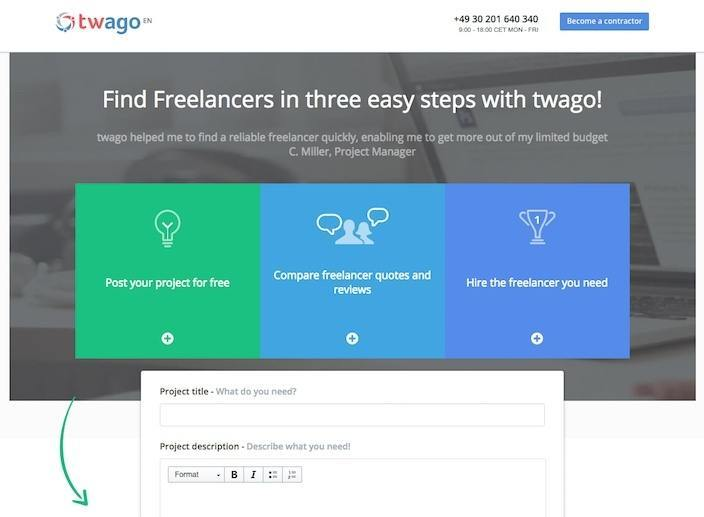 This picture shows marketers why Twago has one of the best landing pages you'll find online.