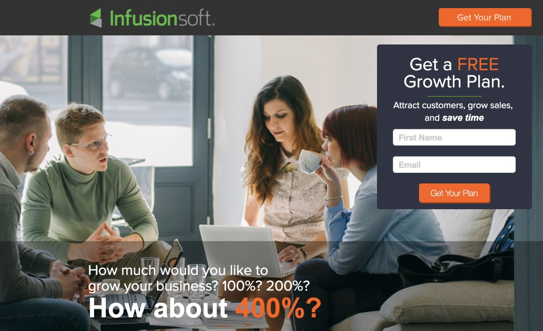 This picture shows how Infusionsoft uses message matching on its landing page to create a great first impression with search users.