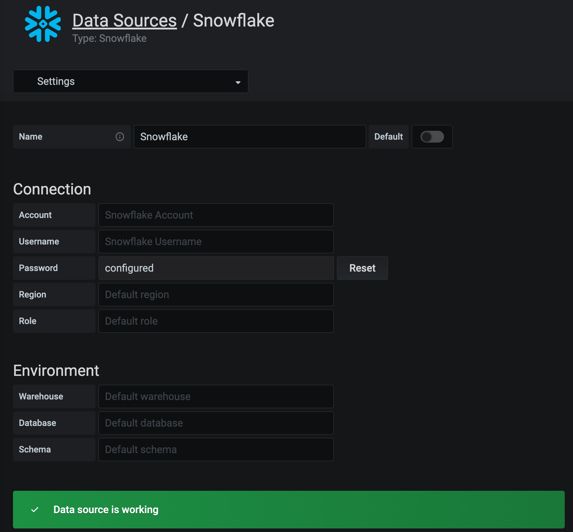 snowflake data source configuration