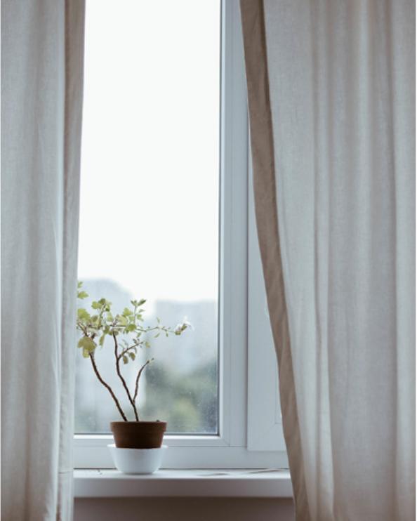 Ventana de habitación con maceta frente a la ventana