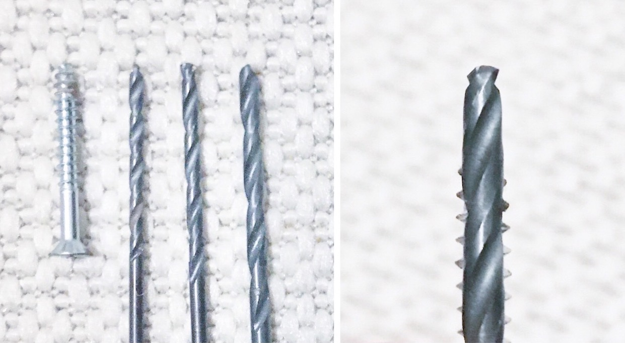 Left side shows a screw and three drill bits in a row next to each other. Right side shows a drill bit being held in front of a screw with only the bit and screw threads visible.