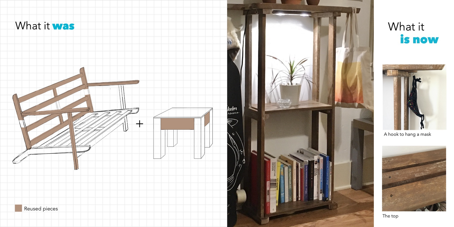 "On the left, the text ""What it was"" on a graph paper drawing of a table and loveseat with highlighted portions that were used to make the bookshelf pictured on the right with the text ""What it is now""."