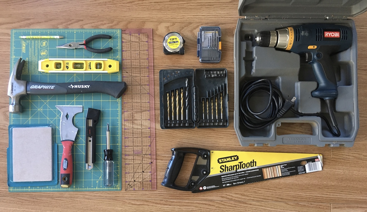 A photo of tools that were used.