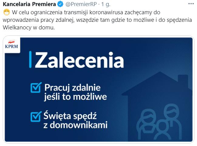 Zrzut ekranu z Twittera premiera Morawieckiego. Ograniczenia na święta wielkanocne
