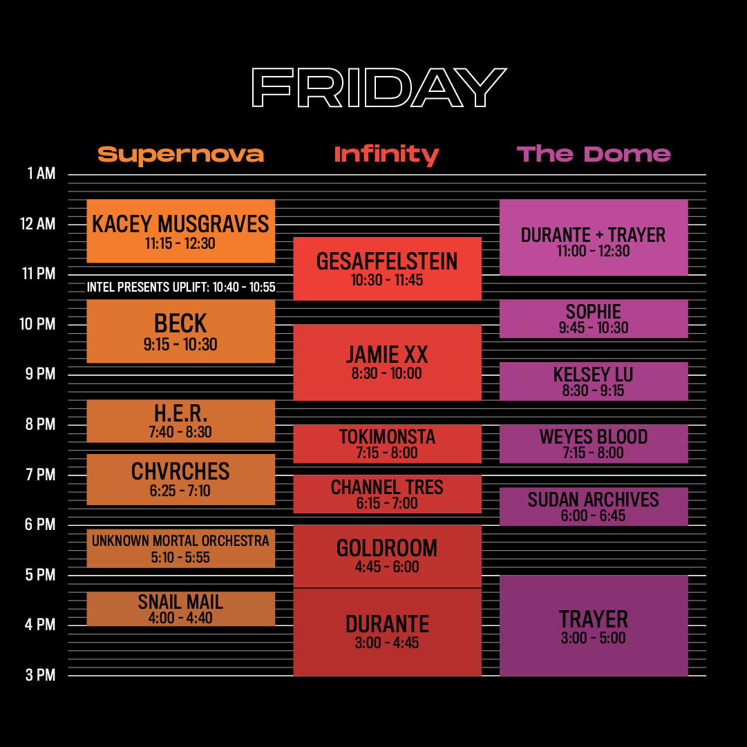 Intersect Friday Line Up
