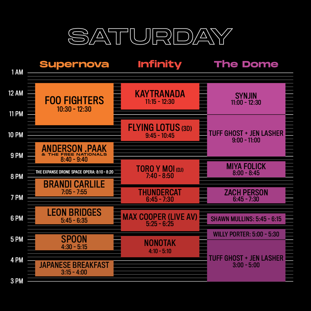 Intersect Saturday Line Up