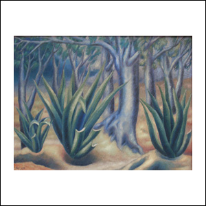Art work by Agustin Lazo, Paisaje con Magueyes, painting, 24 x 32.25 inches (61 x 82 cm)