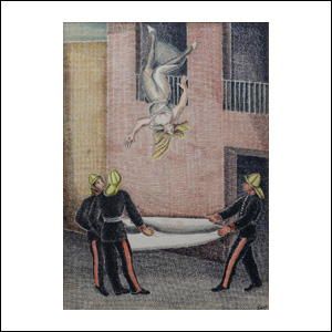 Art work by Agustin Lazo, Premeditated Suicide, c. 1930-32, painting, 14 x 10 in. (35.5 x 25.3 cm)