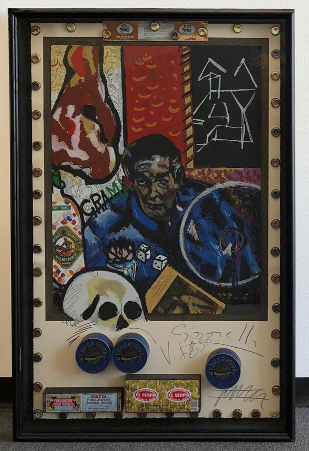 Art work by Alberto Gironella, Hommage to Octavio Paz, painting, 48 x 31 in (122 x 79 cm)