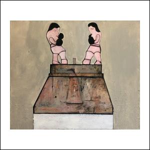 Art work by Alberto Mijangos, Boxers, painting, 54 x 65 in (137 x 165 cm)